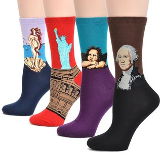 Famous Painting Art Printed Casual Crew Socks