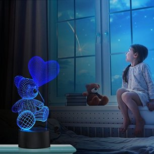 3D Illusion Night Light Teddy Bear