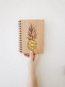 Pineapple Lasercut Wood Journal