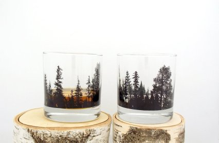 Whiskey Glasses - Forest Landscape