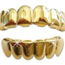 Yellow Gold-Tone Hip Hop Removeable Mouth Grillz