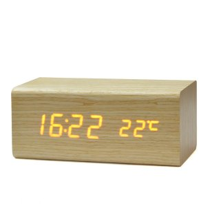 Multi-functional Cubic Solid Wood LED Digital Electronic Alarm Clock