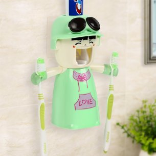 Toothpaste Dispenser + 2 Toothbrush Holder