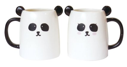 Black & white panda pair cup