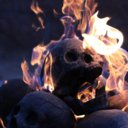 Imitated Human Skull Fire Gas Log