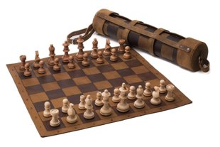 Chess and Checkers Leather Set