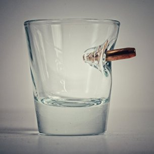Shot Glass with Real 0.308 Bullet